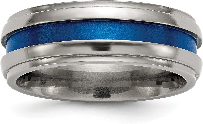 Edward Mirell Titanium Grooved Blue Anodized 7.5mm Band