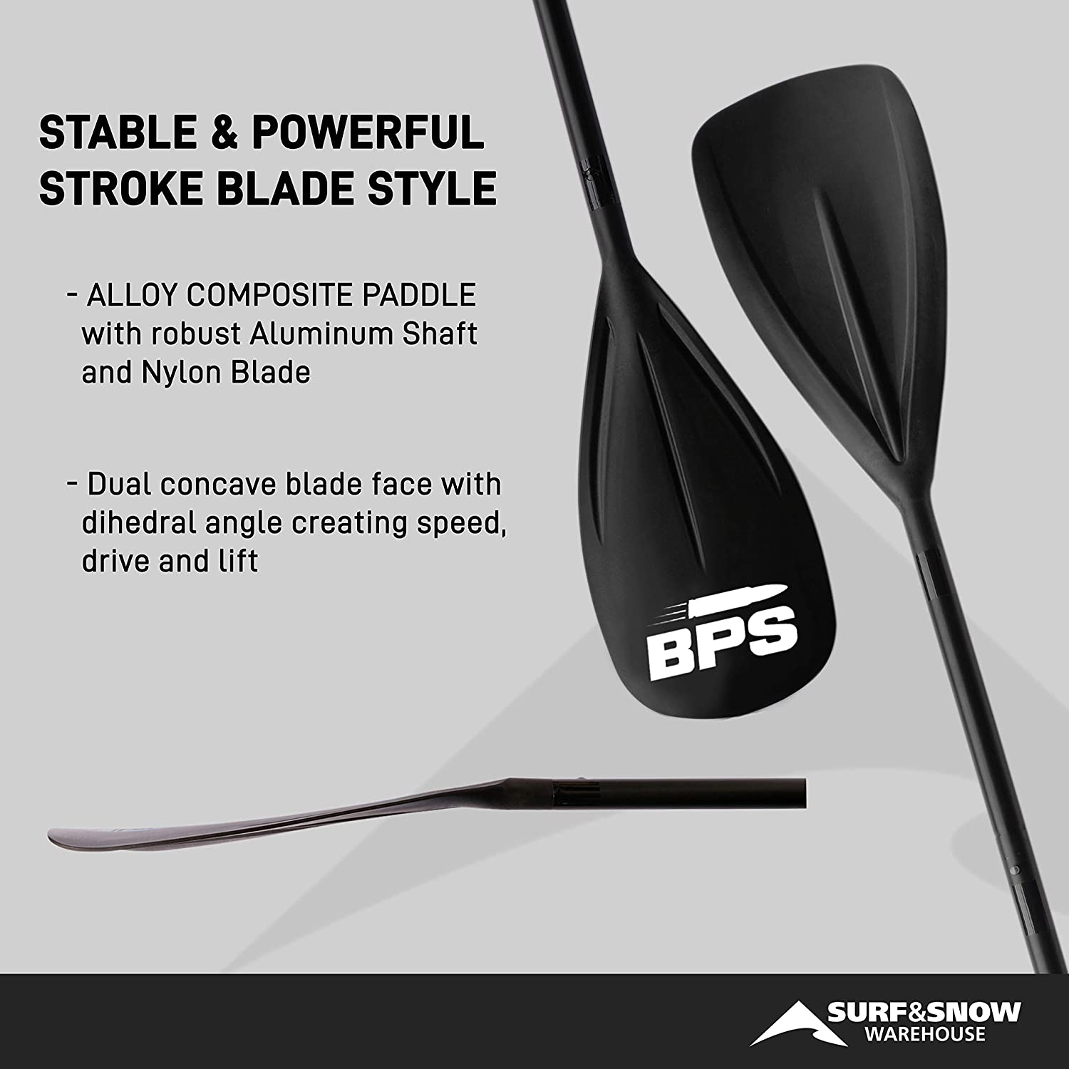 BPS Adjustable 2-Piece Alloy SUP//Stand Up Paddleboard Paddle Choose Accent Colors