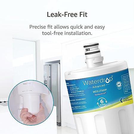 2 x Waterdrop LT500P reemplazo del filtro de agua del refrigerador para LG LT500P, 5231JA2002A, ADQ72910901, ADQ72910902, GEN11042FR-08, GEN11042F-08: ...