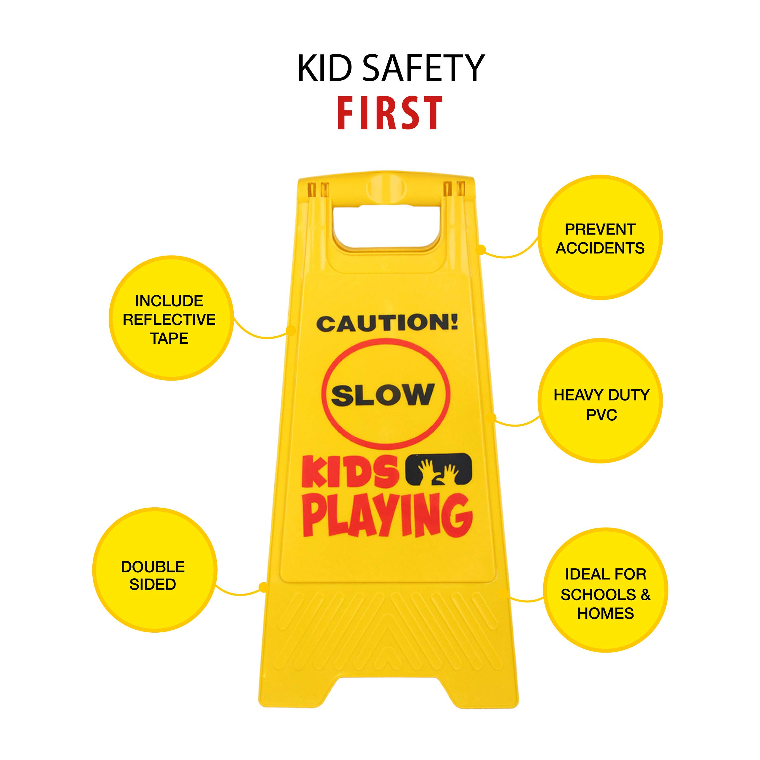 Kid Playing Caution Sign – Children Safety Slow Road Yard Sign - Double Sided Sign Bundled with Reflective Tape by Budgetizer (Image #2)