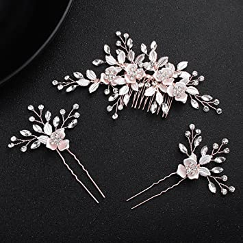 Amazon.com   obqoo Crystal Flowers Style Colorful Leaves Metal Bridal Hair  Comb with 2 pcs Pins Rose Gold   Beauty e98e3aba72c3