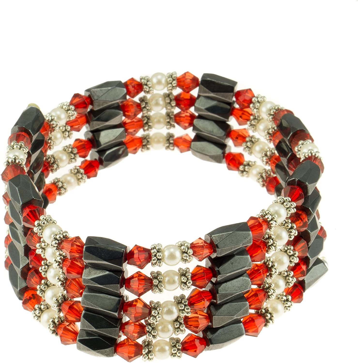 Magnetic Hematite Beaded Wrap Bracelet Anklet or Necklace with Genuine Fresh Water Pearls /& Red Beads BlueRica BR36MGPRLRD1