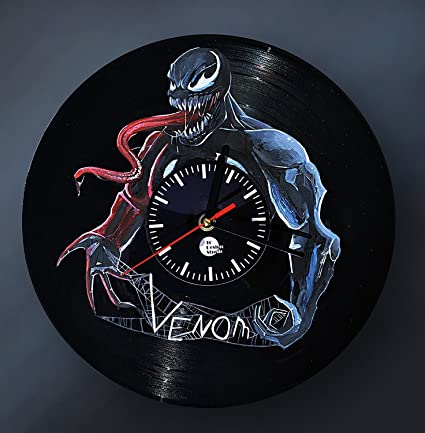 Venom HANDPAINTED Handmade Vinyl Record Wall Clock - Get unique bedroom or living room wall decor