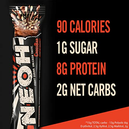 NEOH Low Carb Protein Candy Bar – Keto, Low Sugar 1g – Chocolate Crunch 4 Packs of 12