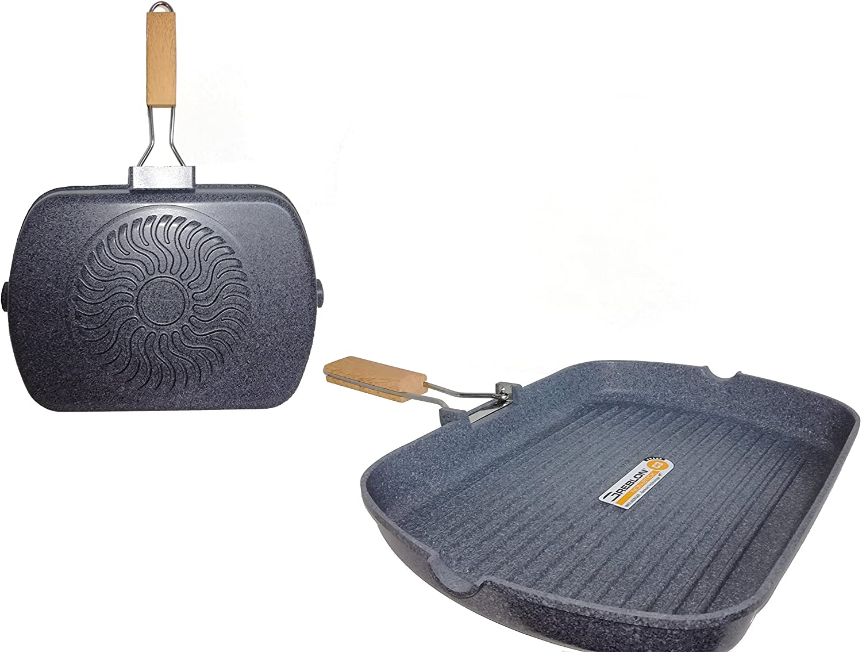 Tognana Energica Grill Rectangular con Mango Plegable Gris Aluminio Fundido