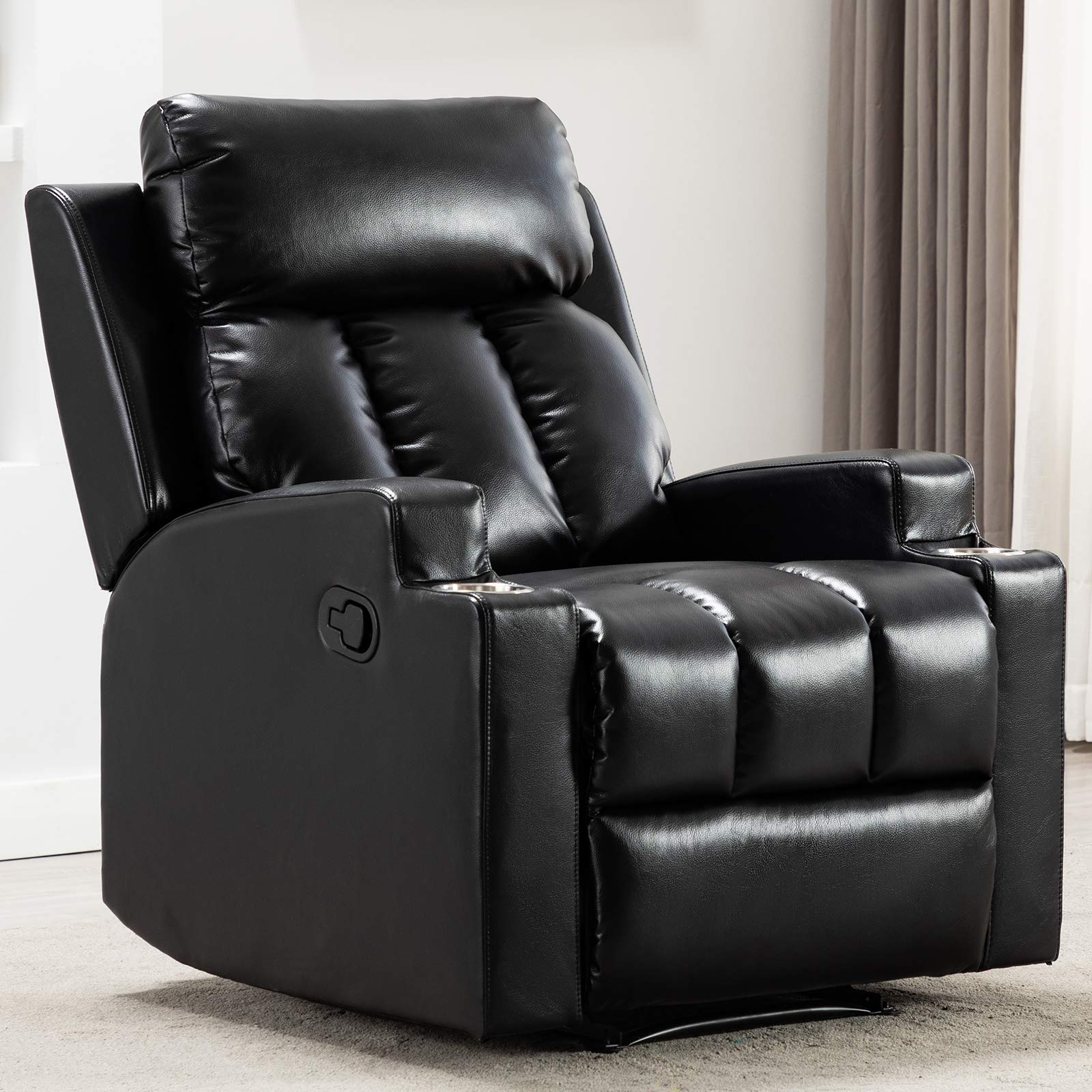 ANJ Chair Recliner Contemporary Theater Recliner with 2 Cup Holders Black by ANJ HOME