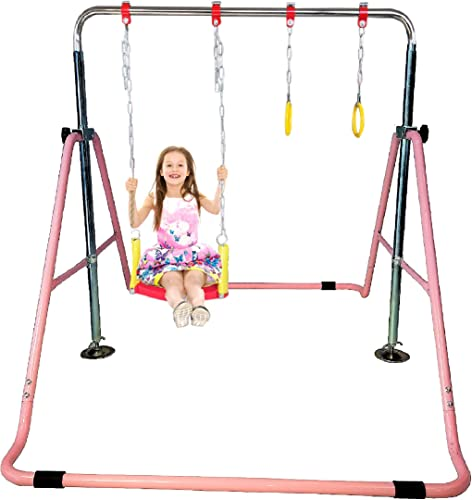 Kids Jungle Gymnastics Expandable Junior Training Monkey Horizontal Bars Climbing Tower Child Play Pink Training Pull Up Gym Swing Seat Trapeze Rings.Set