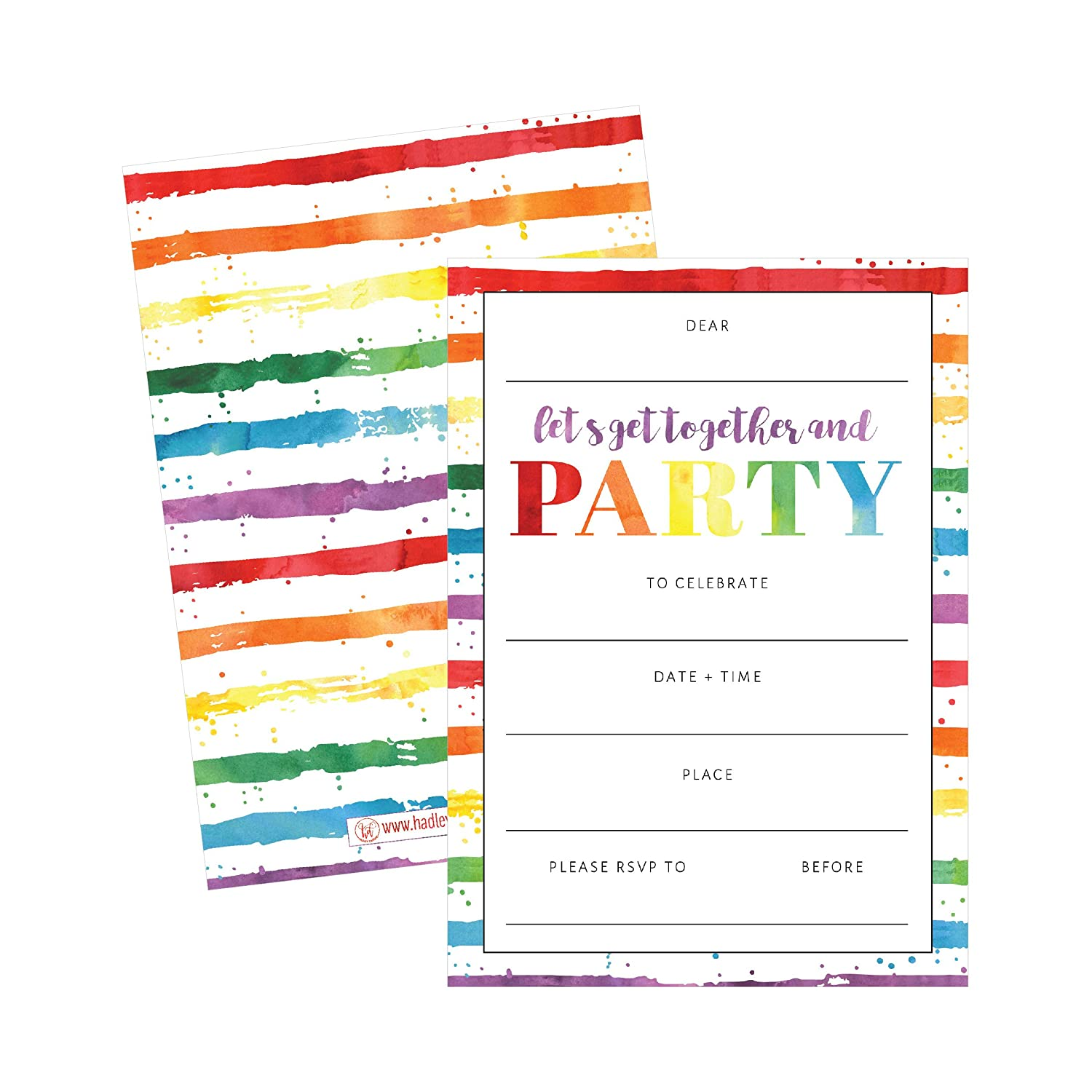 85OFF 25 Art Stripe Rainbow Party Invitations For Kids Teens Adults Boys Girls