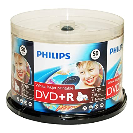 picture about Ink Jet Printable Dvd referred to as Philips White Inkjet Printable 16X DVD+R Media 50 Pack within just Cake Box (DR4I6B50F/17)