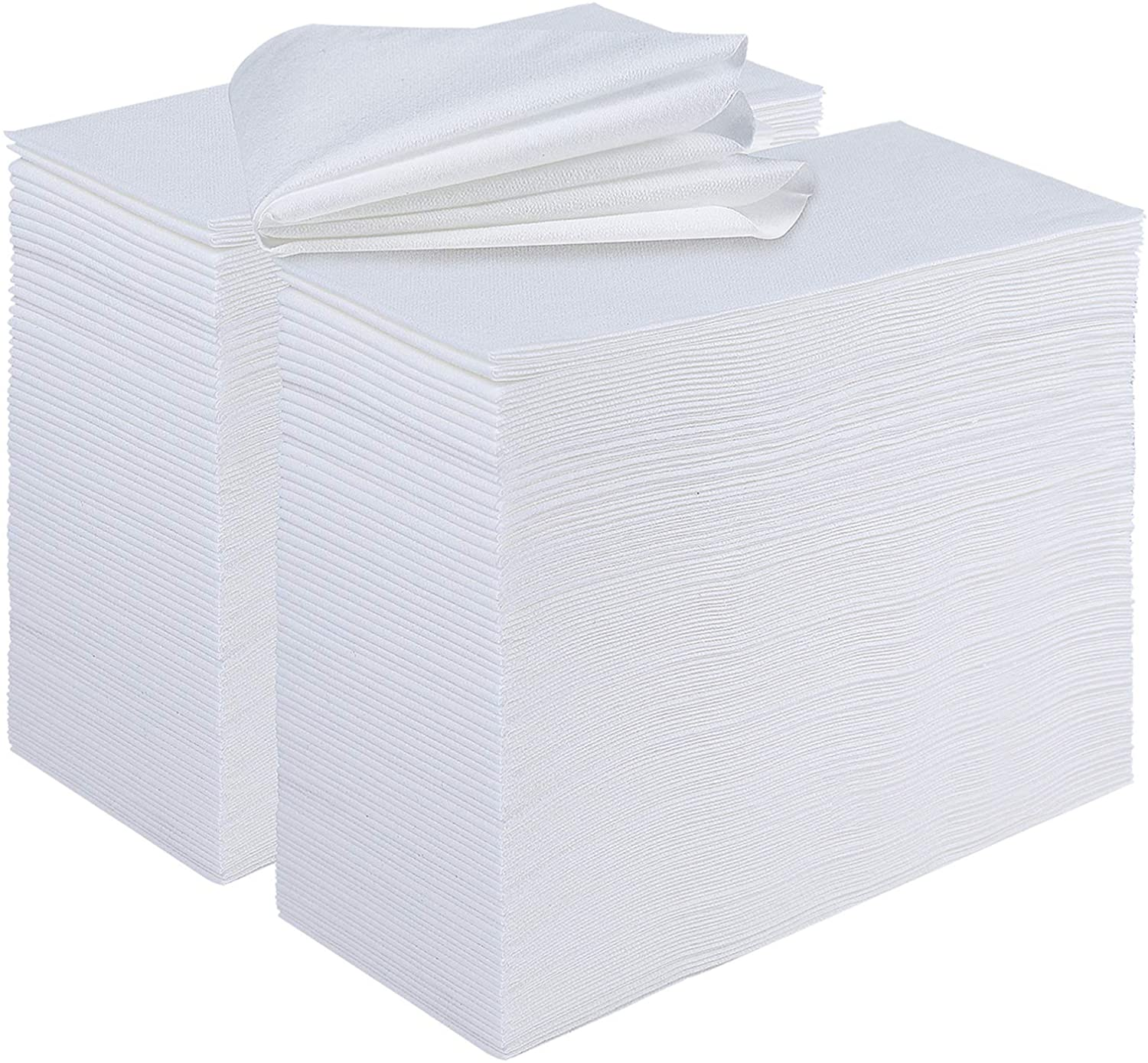 [480 Pack] Disposable Guest Towels Linen-Feel Paper Hand Towels, Soft and Absorbent Disposable Paper Napkins for Kitchen, Bathroom, Parties, Wedding, Event, White