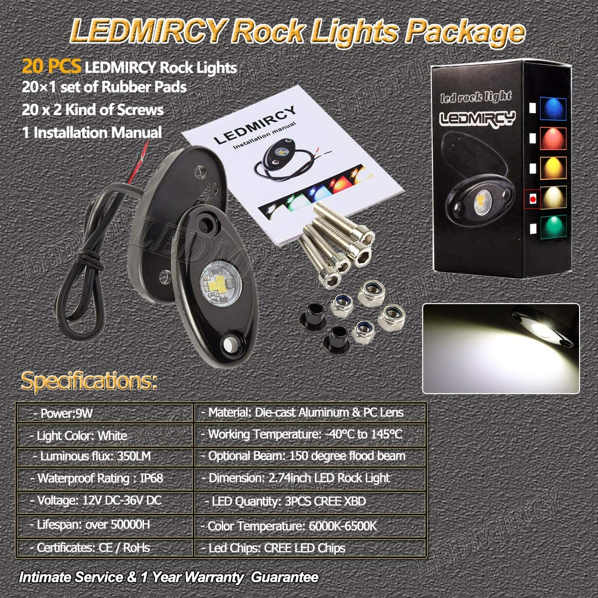 LEDMIRCY LED Rock Lights White 12PCS Kit for JEEP Off Road Truck ZRZ Auto Car Boat ATV SUV Waterproof High Power Neon Trail Rig Lights Shockproof Pack of 12,White