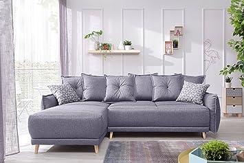 Bestmobilier Canapé Gris D Convertible Couleur Angle Réversible Lena 235x155x90cm Scandinave Clair wvN0O8mn