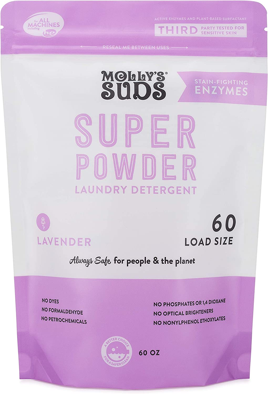 Molly's Suds Super Powder Detergent, Natural Extra Strength Laundry Soap, Stain Fighting and Safe for Sensitive Skin, 60 Loads, Lavender Scent