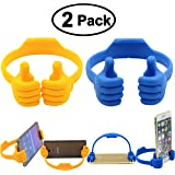 Flexible Mobile Cell Phone Holder, Honsky Cute Thumbs Up Multi-angle iPad Mini Tablet Desk Desktop Display Stand for iPhone 7 7 Plus 6 6S 6+Samsung Galaxy S8 S7 S6 Edge LG Stylo Switch, Blue & Yellow
