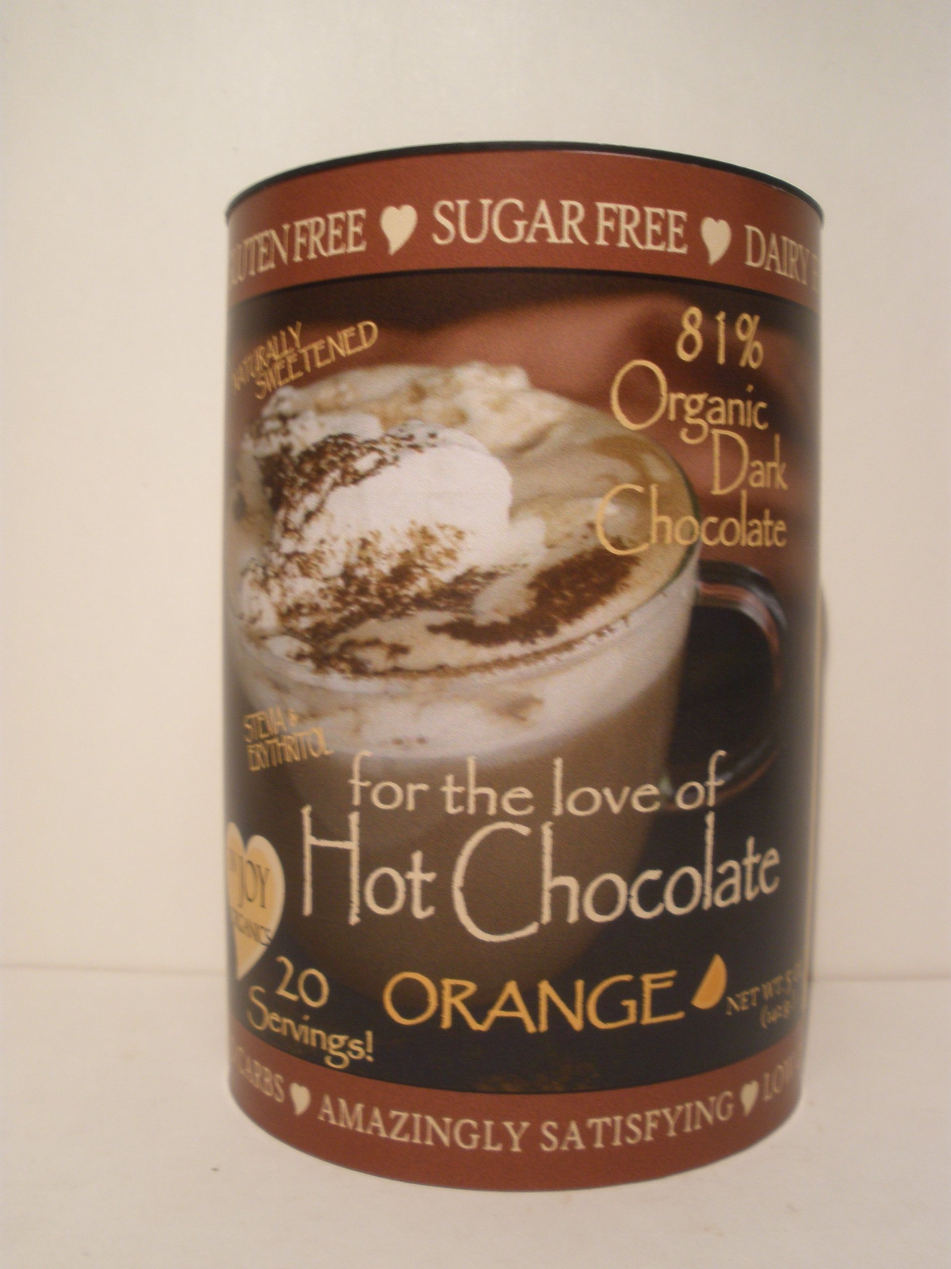 InJoy Organics, Organic, Dark Chocolate, Dairy Free, Sugar Free, Gluten Free, Hot Chocolate, Orange, 20 Servings