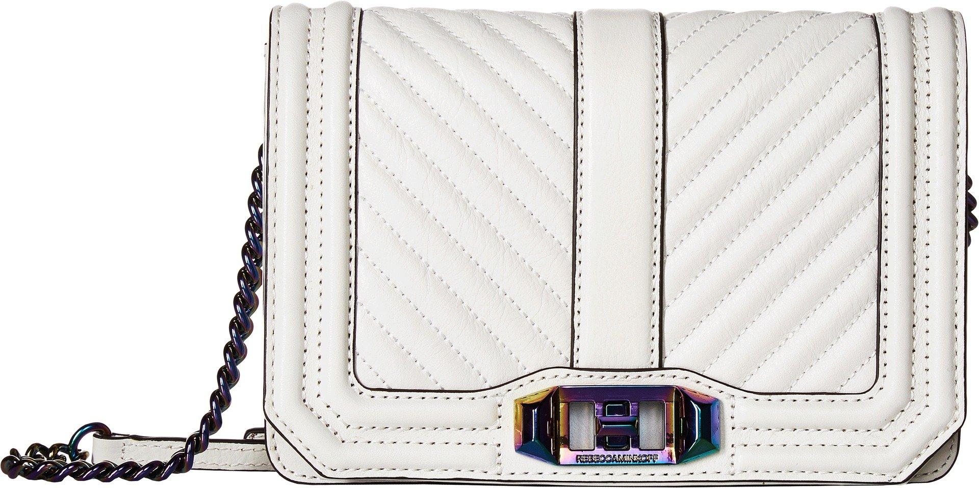 Rebecca Minkoff Women's Chevron Small Quilted Love Cross Body Bag, Bianco, One Size