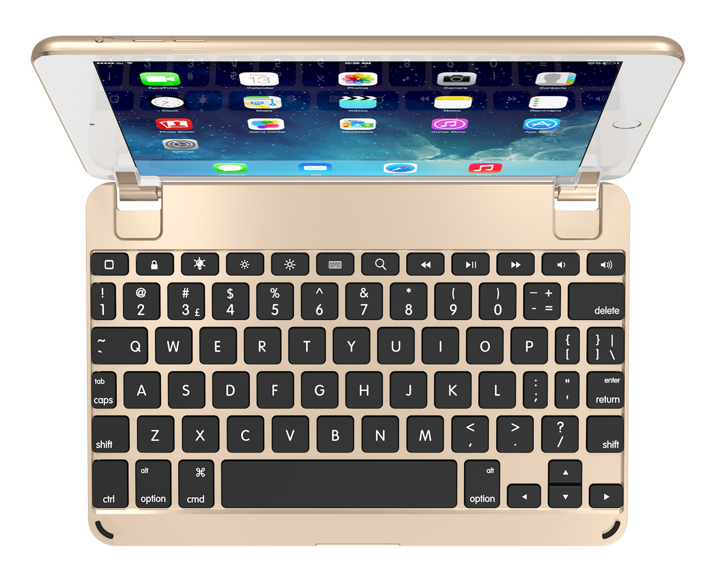 BrydgeMini Bluetooth iPad Mini 1,2 and 3 Keyboard. Backlit, Aluminum, Detachable, Rotating Hinges, 180 Degree Viewing. (Gold)