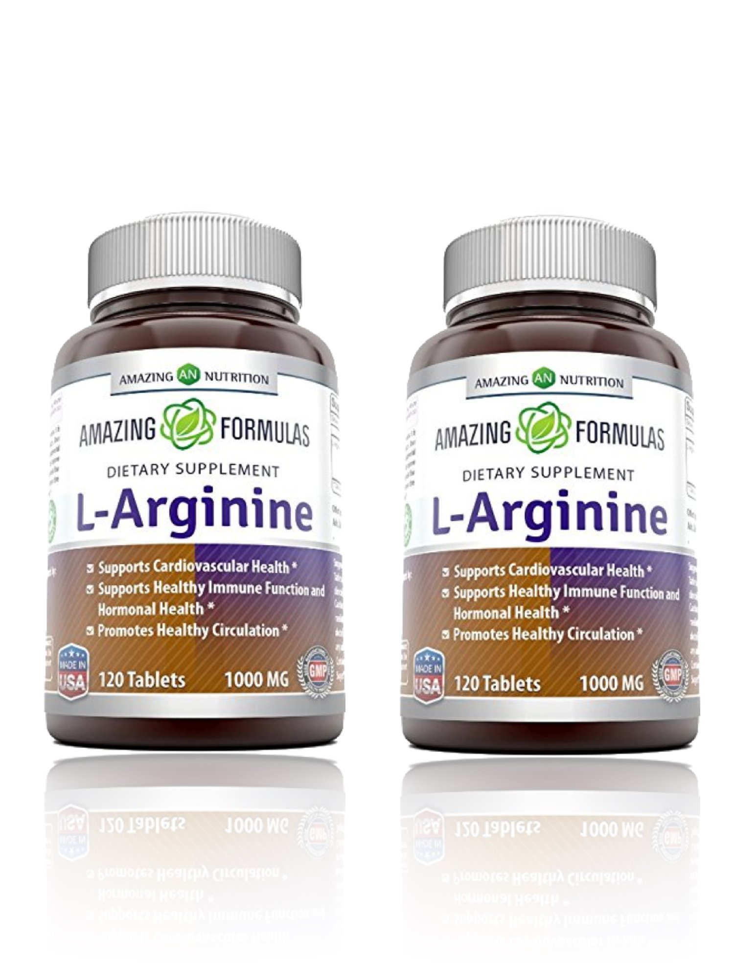 Amazing Formulas L-Arginine 1000mg Supplement - Best Amino Acid Arginine HCL Supplements for Women & Man - Promotes Circulation and Supports Cardiovascular Health - 2 Pack