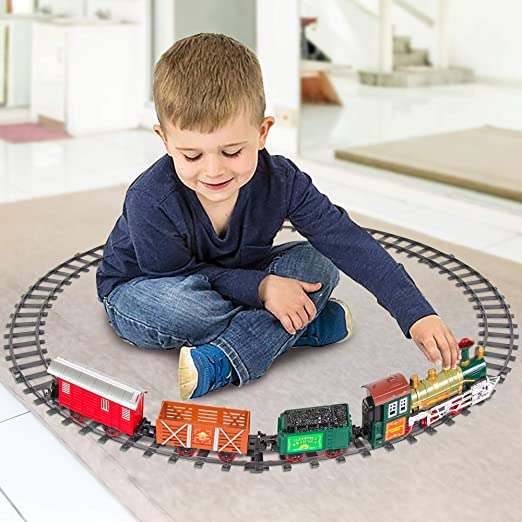 Battery-Operated Toy with 4 Cars and T ArtCreativity Deluxe Train Set for Kids