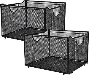 CLATINA Office Metal Mesh File Organizer with Handle Letter Storage Crate Folder Holder Box for Home Desk Black 2 Pack
