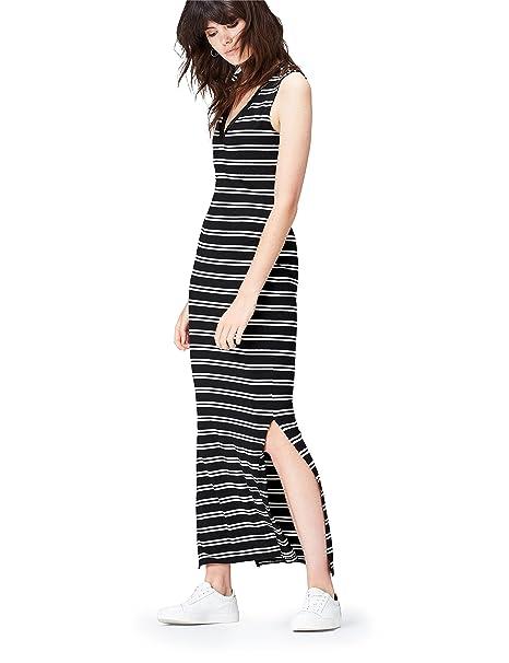 FIND Vestido Largo De Verano sin Mangas para Mujer, (Black/Ivory),