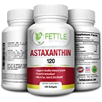 Astaxanthin 120 Softgels 10mg Supplement Strong Carotenoid Antioxidant Helps Optimal Immune Response Skin Health Reduced Eye Fatigue and Joint Pain by Fettle Botanical