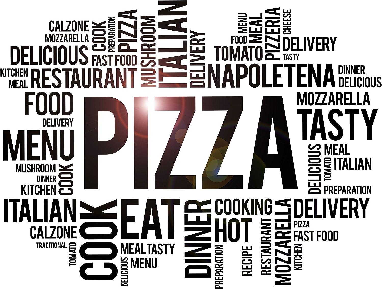 DesignToRefine Vinyl Wall Decal Pizza Pizzeria Words Italian Restaurant Idea Stickers Mural Large Decor (ig6279) Black