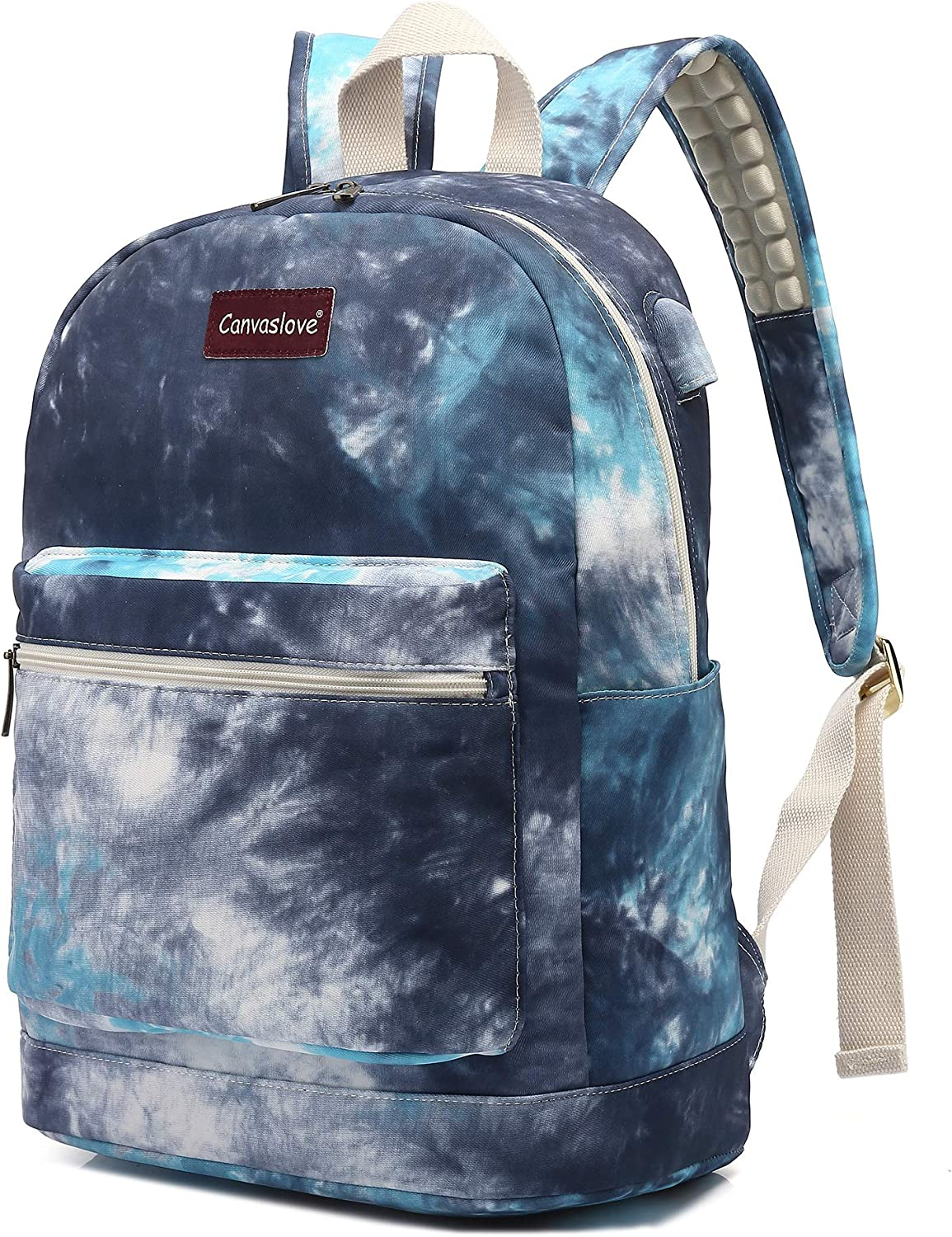 Canvaslove Watercolor Pattern Waterproof Laptop Backpack with USB Charging Port and Massage Cushion Straps for Laptop up to 15 inch Men Women Student Outdoor Travel Backpack