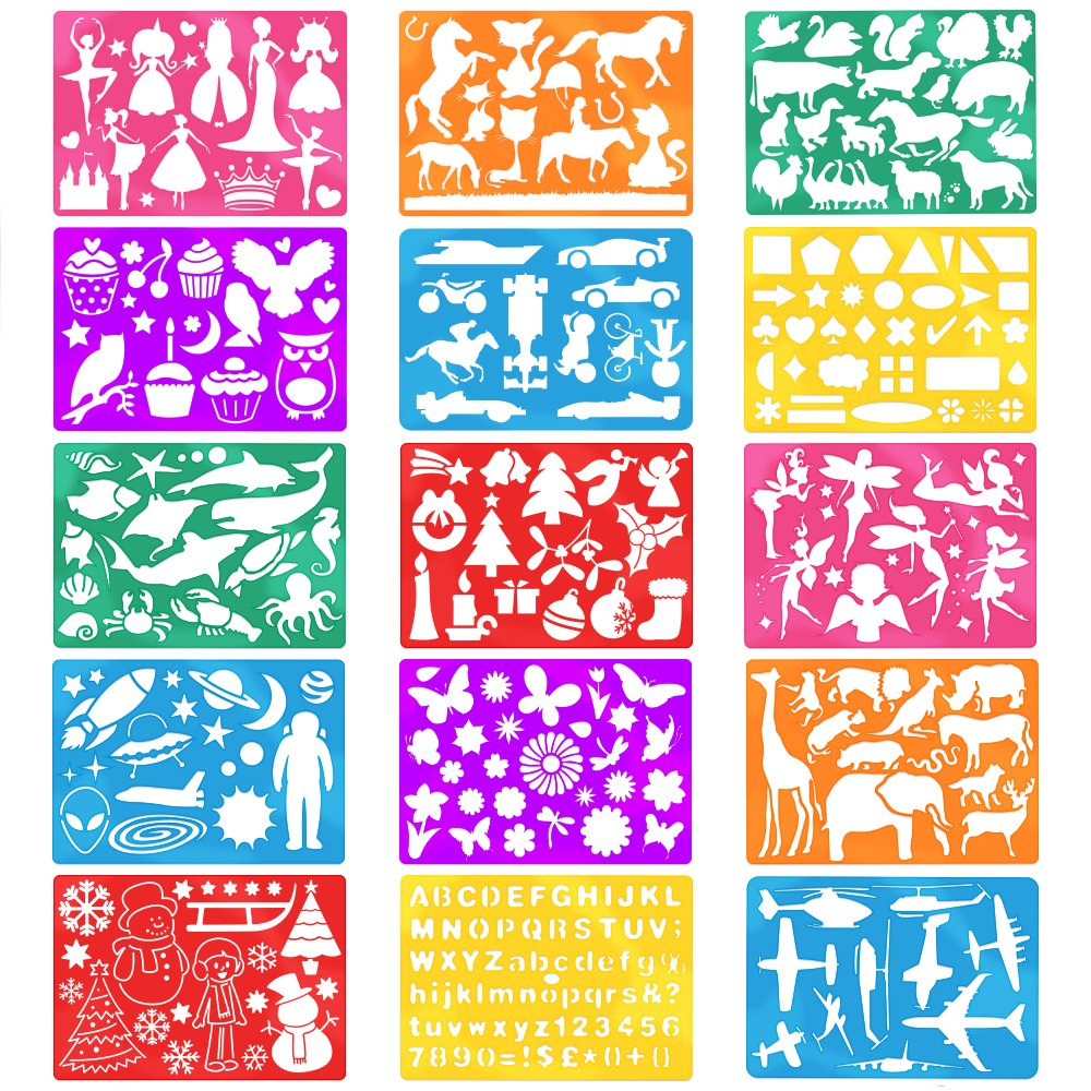 amazoncom 2 pack stencil drawing kit w carry case over 300 shapes large drawing stencils for kids art include plastic alphabet stencils