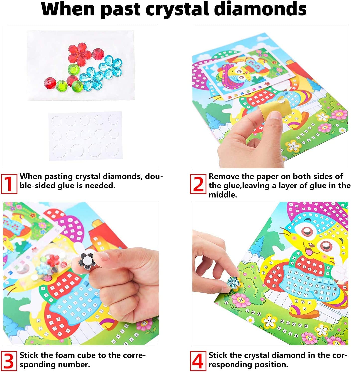 Flowers Upriver Mosaic Stickers Art Kits for Kids etc Patterns. DIY Hand Made 3D Mosaic Stickers Art for Kids with 12 PCS Animals EVA Stickers Mosaic Art Craft with Crystal Diamond