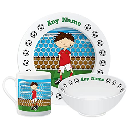Personalised Dinner Set For Kids Football Theme Set (Red) Childrens Tableware  sc 1 st  Amazon UK & Personalised Dinner Set For Kids Football Theme Set (Red ...