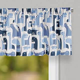 """product image for Glenna Jean Dino Blue Curtain Valance 70""""W x18""""H for Kids Window"""