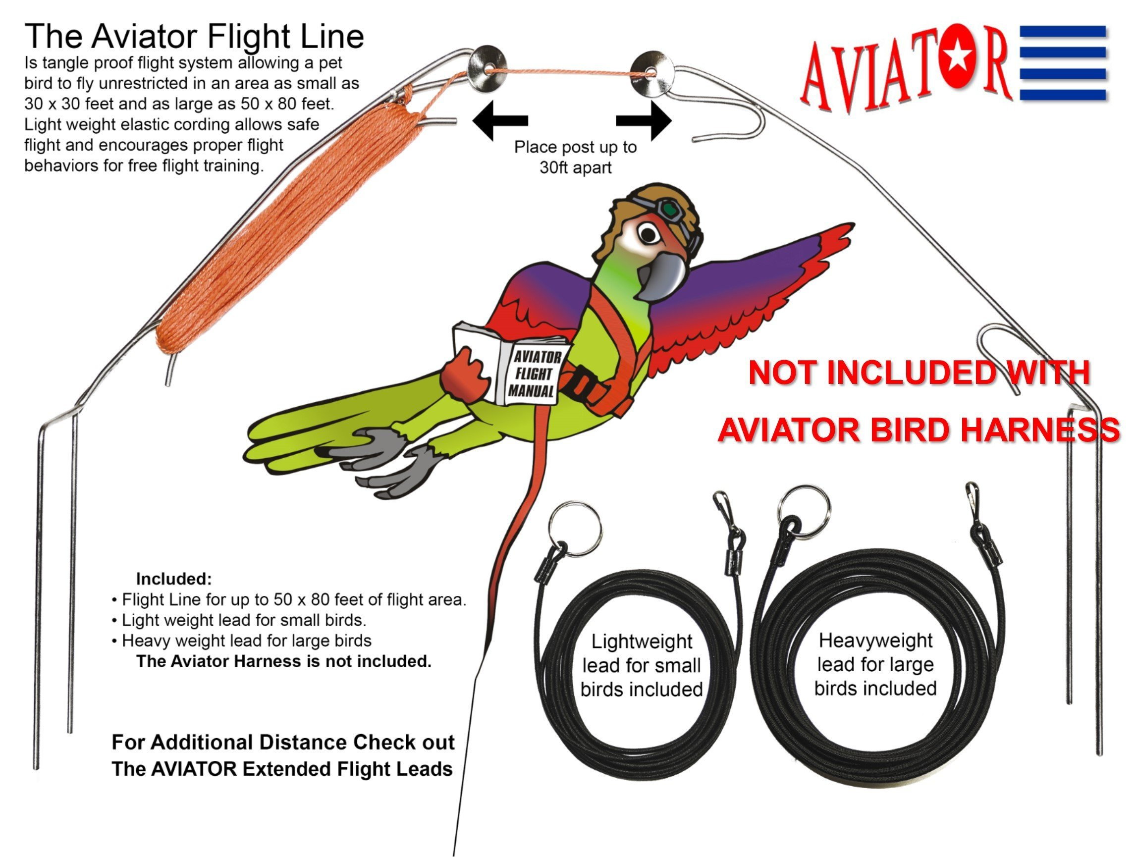 The AVIATOR Pet Bird Harness and Leash: X-Small Red by The AVIATOR (Image #6)