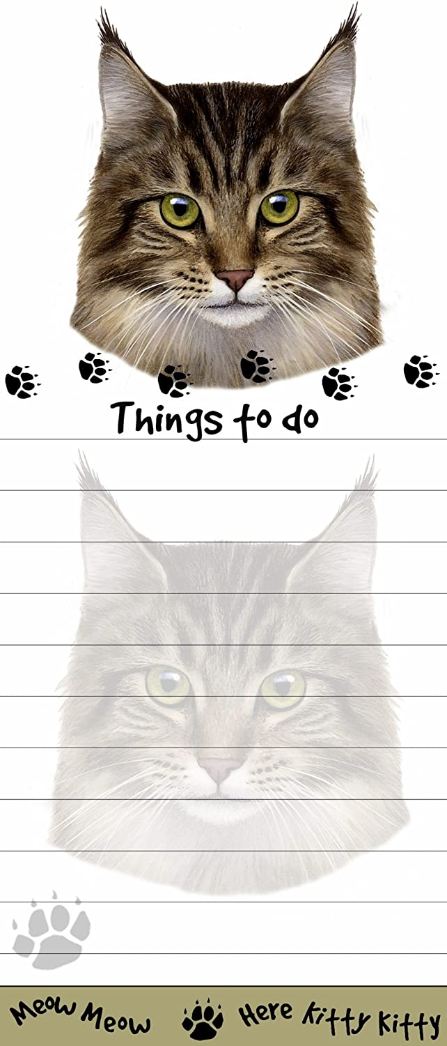 """Maine Coon Cat Magnetic List Pads"" Uniquely Shaped Sticky Notepad Measures 8.5 by 3.5 Inches E&S Pets Maine Coon cat Notepad"