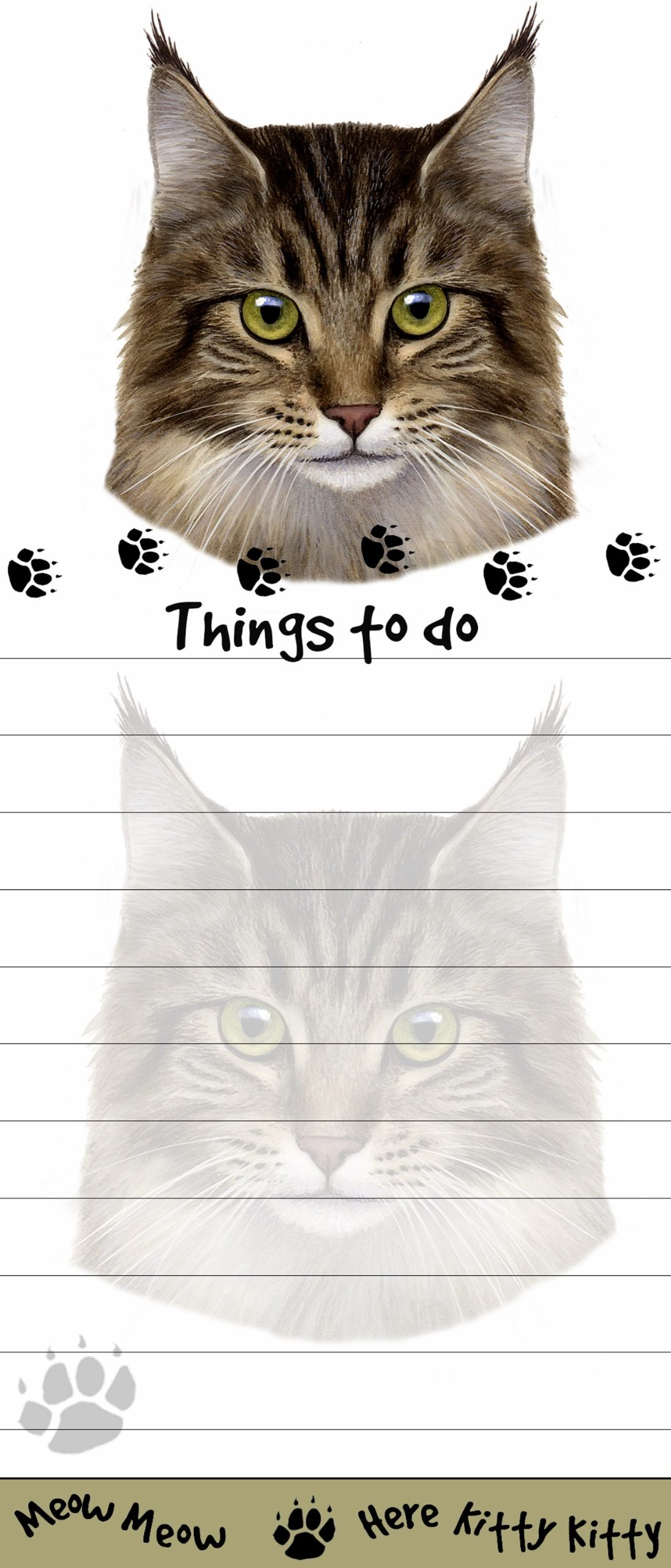 ''Maine Coon Cat Magnetic List Pads'' Uniquely Shaped Sticky Notepad Measures 8.5 by 3.5 Inches