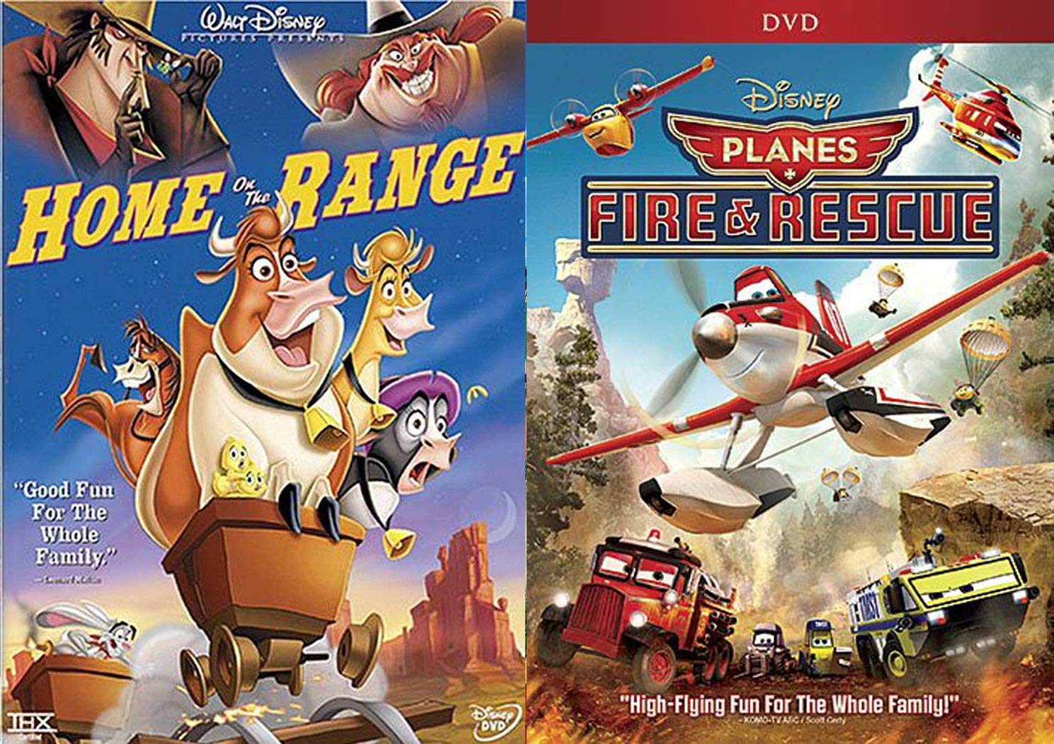 Flying Fun & Animal Antics Disney Cartoon Movie Planes Fire & Rescue + Home on The Range DVD Animated Double Feature Set Family Bundle