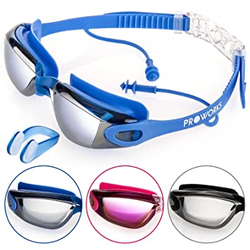 7eade219ee Proworks Swimming Goggles with Mirrored Lenses