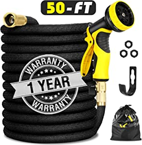 """Garden Hose Expandable 50FT, Flexible Water Hose with Powerful Nozzle Spray, Car Wash Hose with Good Pressure, Expanding hose with 3/4"""" Brass Connector, Hose with Metal 9 Function Spray Nozzle Storage"""