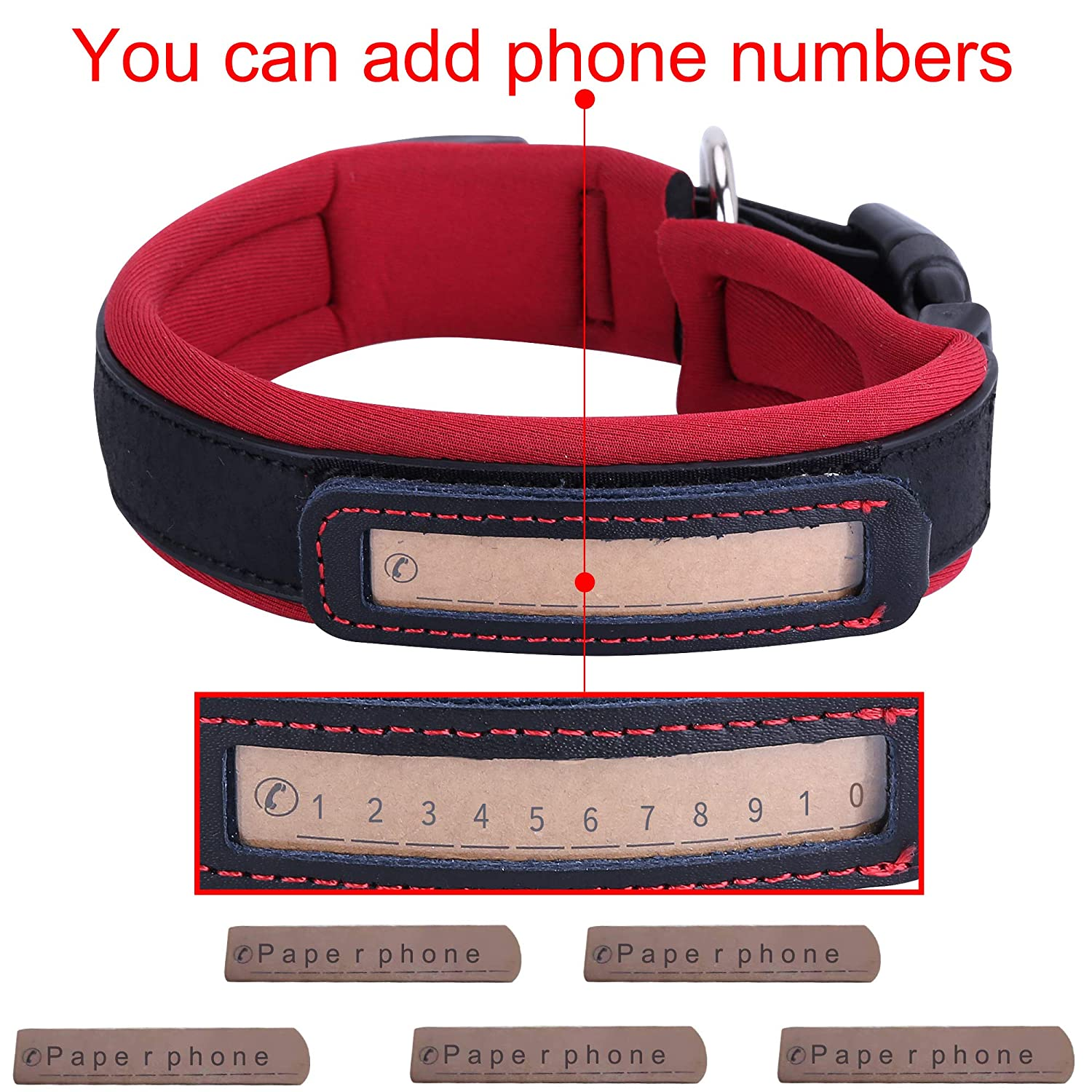Dog Collars IDOOLS Personalized Genuine Leather Ultra Soft Neoprene Padded with Custom Phone Number Engraved Plate Pet Collar for Small Medium Large Dogs Reflective Adjustable-Medium