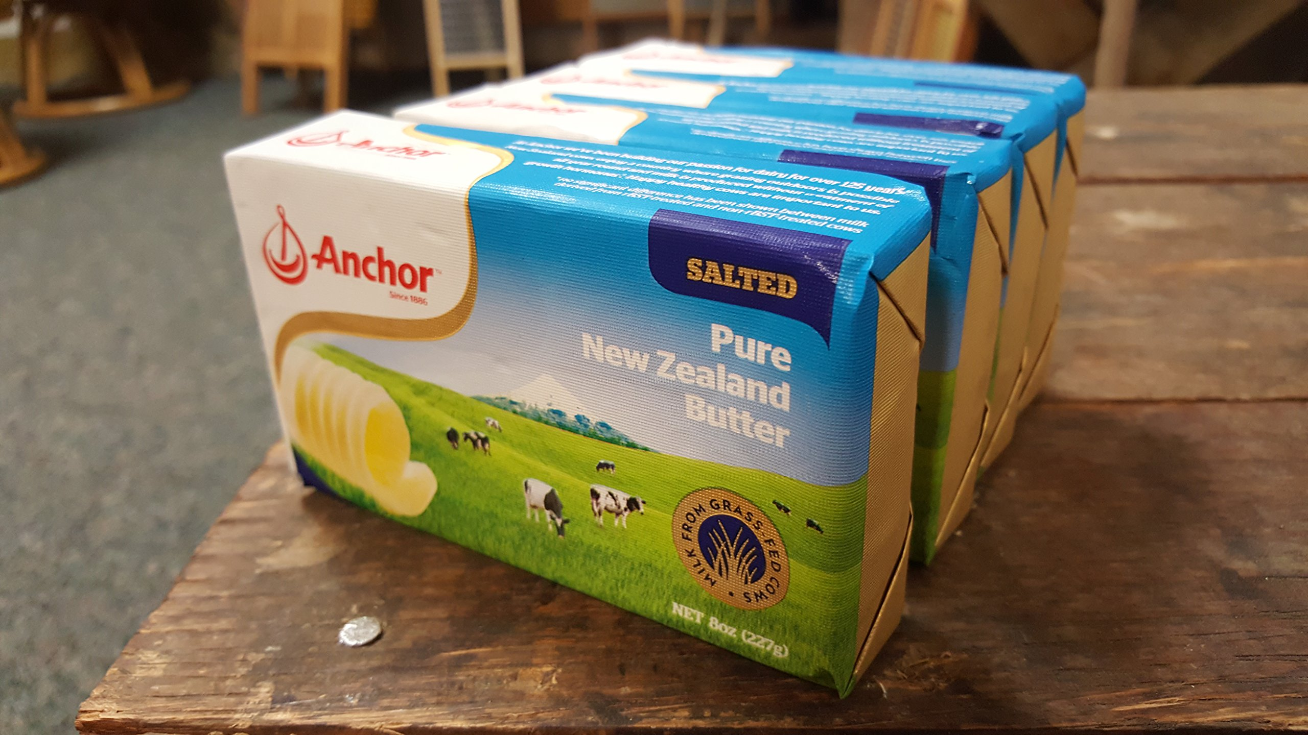 Anchor Butter New Zealand, Salted. Pack of 4 x 8oz packs (2lb)