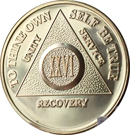 26 Year Alcoholics Anonymous AA 24k Gold Plated Medallion Chip Sobriety Coin