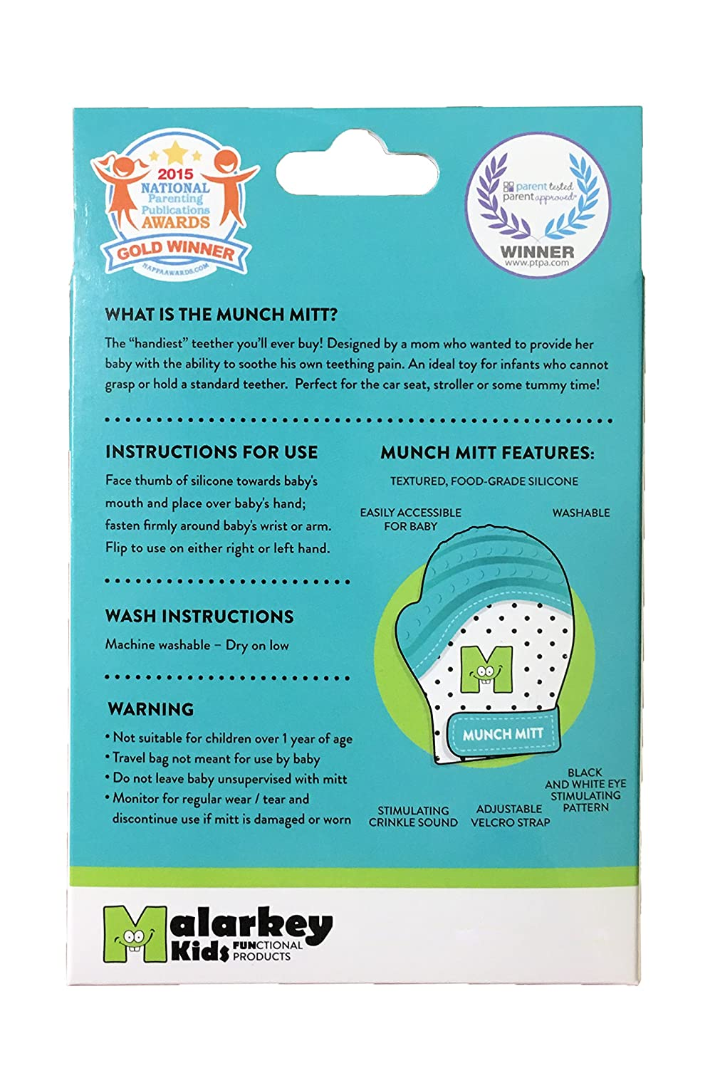 Ideal Baby Shower Gift with Handy Travel//Laundry Bag Original Mom Invented Teething Toy Teether Stays on Babys Hand for Pain Relief Munch Mitt Trendy Collection Teething Mitten 2 pk Aqua Blue XO Malarkey Kids
