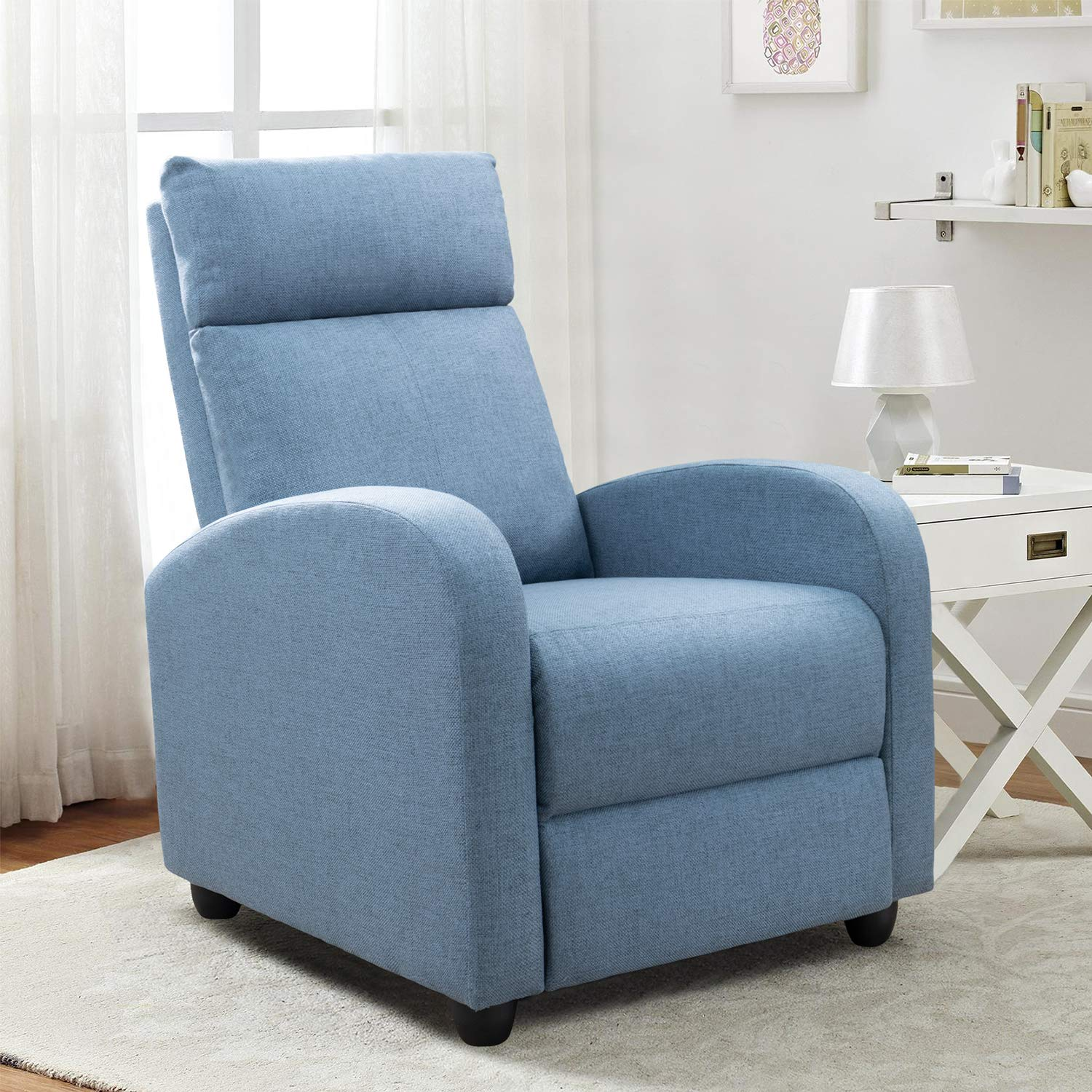 Recliner Sofa Furniture with Thick Seat Cushion and Backrest Modern Living Room Recliners (Light-Blue)