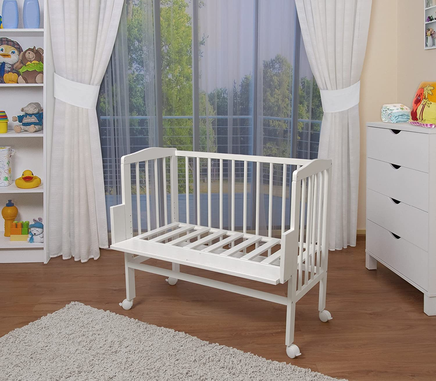 WALDIN Baby Bedside Cot Co-Sleeping height adjustable with bumper,16 models available, white painted,textile colour white: Amazon.co.uk: Baby