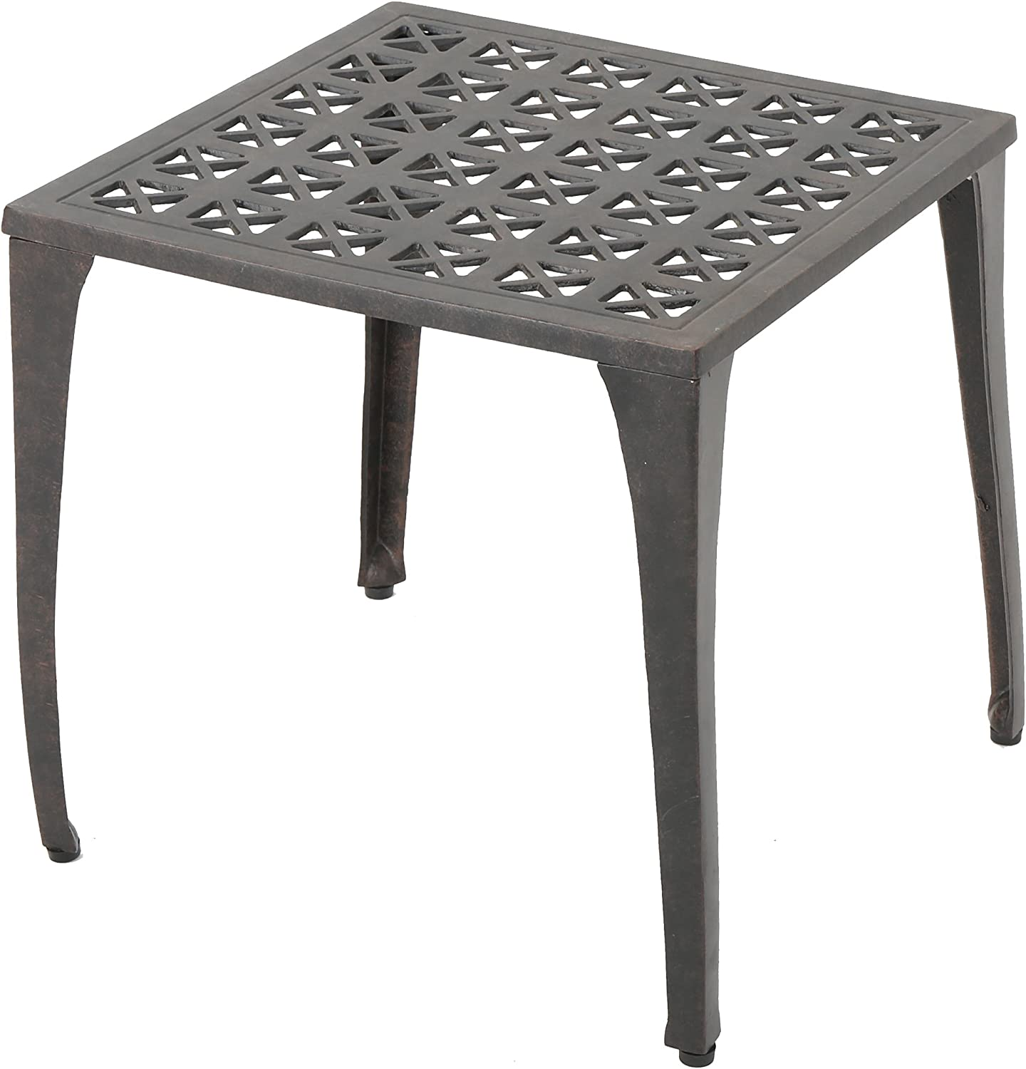 """Christopher Knight Home Kai Outdoor 18"""" Cast Aluminum Side Table, Bronze Finished : Garden & Outdoor"""