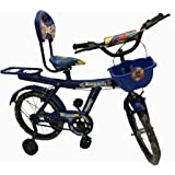 """Rising India 16"""" Blue Kids Balloon Bicycle for 5-7 Years Double Seated with Basket and Side Wheel (Semi Assembled)"""