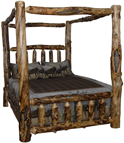Image Unavailable & Amazon.com: Rustic Aspen Log King Canopy Bed: Kitchen u0026 Dining