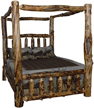 Rustic Aspen Log King Canopy Bed & Amazon.com: Rustic Aspen Log King Canopy Bed: Kitchen u0026 Dining