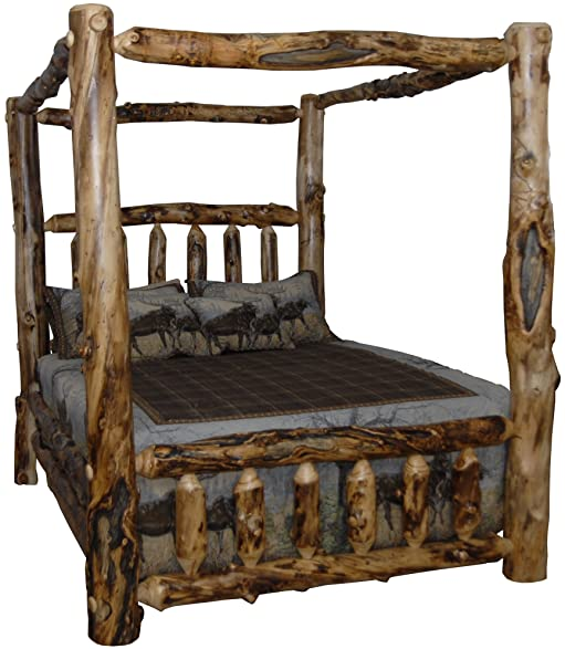 Rustic Aspen Log King Canopy Bed