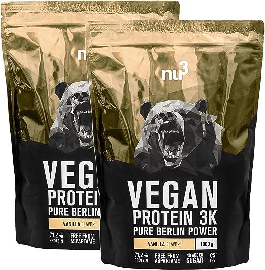 Batidos de proteínas veganas - Proteína vegetal 3K en polvo - de 3 componentes vegetales (guisante, cáñamo & arroz) - 2 Kg sabor vainilla - Para ...